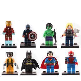 Wholesale Superman Action Figure Toys - Mini Super Heroes Figures Blocks Toys Superman Spider-Man Iron Man Movable Action Figure Minifig Toys OOA5074