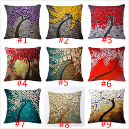 Capas de almofada abstratas on-line-Pintura a óleo da árvore do estilo fronha de algodão Vintage Flower Pattern Capa de Almofada Abstract pintura decorativa Retro Pillow pintados à mão