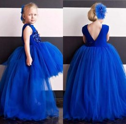 fiori di natale blu Sconti Royal Blue Tulle Tutu High Low Girls Pageant Abiti Puffy Ball Gowns Bambini Flower Girl Dress Appliques senza maniche Toddler Christmas Gown