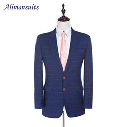 махровые шерстяные костюмы Скидка Damier Check Jacket Notched Lapel Worsted Wool Jacket 2 Buttons Groom Tuxedos Custom Made Suit Suit 1 Piece Blazer