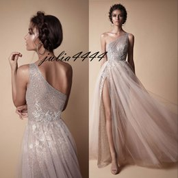 Wholesale Sequined One Shoulder Evening Dress - Berta Evening Party Dresses 2018 Modest Fashion Prom Pageant Dress One Shoulder Sexy Full length Gown Occasion Dress Lace High Split