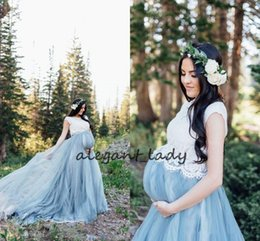 Abito blu illusione bianco online-Cheap Blue White Country Wedding Dresses Vintage Maternity Wedding Dresses Tulle Floor Length Lace Bohemian Wedding Dress Custom Berta Brida