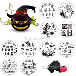 Wholesale Nail Stamp Halloween - Wholesale- Hot Halloween 1 Sets Nail Stamping Kits 10pcs Stamp+Stamper+Scraper Nail Art Round Stainless Stamping Plate DIY Nails Tools