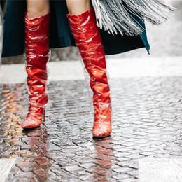 Canada Bout pointu en satin et en TPU au genou bottes hautes chaussures de créateurs de luxe pour les femmes rouge noir gris talons aiguilles bottes chaussures femme cheap knee luxury boots Offre
