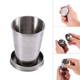 Wholesale Travel Folding Cup Stainless Steel - Portable Stainless Steel Folding Drinking Wine Cup Mug for Outdoor Travel Picnic Key Chain Collapsible Telescopic Cup 75ml CCA9215 300pcs
