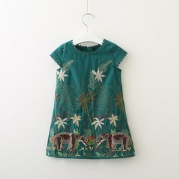 Wholesale Girls Vintage Style Dress - Everweekend Kids Girls Embroidered Flowers Elepants Summer Dress Green Color Korean Vintage Party Holiday Lovely Dress