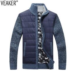 Cardigan de cuello v hombres grueso online-2018 nuevos hombres gruesa capa de suéter masculino otoño invierno abajo suéter abrigo negro azul gris con cremallera suéter chaqueta chaqueta prendas de vestir exteriores M-3XL S18101801