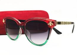 Óculos de gato vintage on-line-2018 Itália Abelha De Luxo Óculos De Sol Das Mulheres Olho de Gato Quadro Óculos de Marca Do Vintage Designer de Moda Feminina Shades Óculos Com Caixa