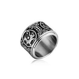 Wholesale Wholesale Vintage Style Rings - Brand New Titanium steel Mens Luck Ring Vintage Style Design Double layer rotatable Finger Rings for Men