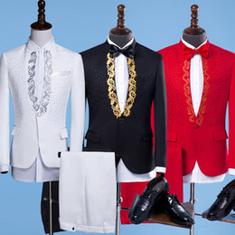 Wholesale black diamond jacket - (jacket+pants) Male slim Suit Costumes Flashing red Crystals Diamond Blazers Trousers sets Nightclub singer stage outfit Host party costumes