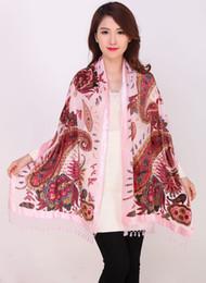 Foulards imprimés en soie chinoise femmes en Ligne-Nouvelle Arrivée Femmes 100% Soie Châles Foulards Style Chinois Vintage Imprimer Pashmina Cape Tassel Wrap Chal nouveauté Poncho Stole