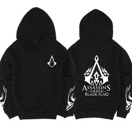 assassins creed vêtements noirs Promotion Sweat à capuche Assassin 's Creed Hoodie Hommes Sweat à capuche Assassins Creed Sweat à capuche Black Flag Fraternity Sleeve