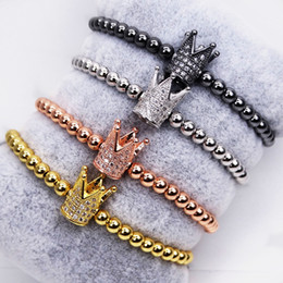 Deutschland Micro Tiny Zirkon kleine Krone Armband 4MM runde Perle gewebte Galvanik 18K Gold Mode Armband Mikro - Set weiß CZ Armband la Versorgung