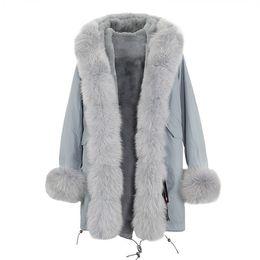 Abrigo de cuello de piel de zorro azul online-Abrigos de invierno de las mujeres en venta JAZZEVAR marca gris fox y forro de piel de conejo gris azul largo parkas gris piel de mapache recorte