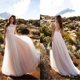 Wholesale Wedding Dresses Soft Elegant - Bohemian Lace Wedding Dresses 2018 Lastest Cap Sleeves A Line Soft Tulle Long Backless Elegant Bridal Gowns Plus Size Beach Party Dress