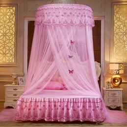 princess canopy beds 2019 - 8 Colors Round mosquito nets Luxury Princess Pastoral Lace Bed Canopy & Discount Princess Canopy Beds | Princess Canopy Beds 2019 on Sale at ...