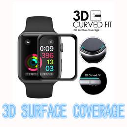 caja de vidrio templado iphone Rebajas Vidrio templado 3D para Apple Watch 38mm 42mm Serie 3 2 1 Cubierta completa Curved Black Edge Film Protector de pantalla para iWatch con caja al por menor