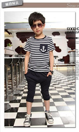 Полосатые матросские шорты онлайн-New Casual Kids Toddler Boys Sailor Outfits Striped Anchor Short Sleeve Cotton Tops +Half Pants 2Pcs Set