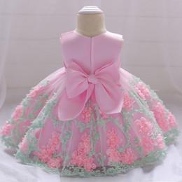 I vestiti dalla ragazza del fiore chiffoni infantili online-Flower Toddler Baby Girl Infant Princess Dress Baby Girl Wedding Dress Tutu di pizzo bambini Party vestidos per 1 anni di compleanno