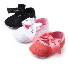Wholesale girls black bedding - Fashion Bow tiebaby shoes first step neonatal soft soles baby bed shoes baby girl princess shoes