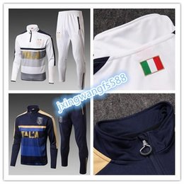 Wholesale Italy Trains - top quality 2017 2018 Italy Football jacket tracksuit 17 18 Verratti de foot De Rossi VERRATTI Bonucci Chiellini jacket Training suit