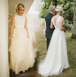 Wholesale Wedding Dresses For Outdoors - Vintage Long Country Wedding Dresses Custom Made Backless Court Train Plus Size Bridal Gowns For Garden Outdoor Wedding Dress Custom Made