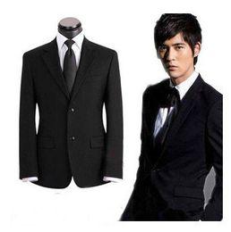 Wholesale Best Slimming Dresses - black Business Slim Korean men's clothes dress wear wedding leisure suit Best shipping