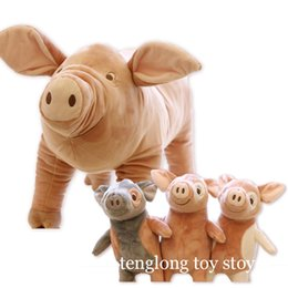 Wholesale naughty baby - high quality cute pink pig plush toy cartoon smile naughty pig doll animal plush doll kids toys best gift for baby