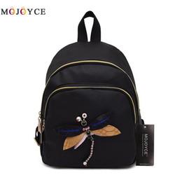 Wholesale Dragonfly Bags - MOJOYCE 2017 New Handmade Embroidery Dragonfly Lady Backpack Fashion Designer 3D Diamond Shoulder Bag Retro Female Bag