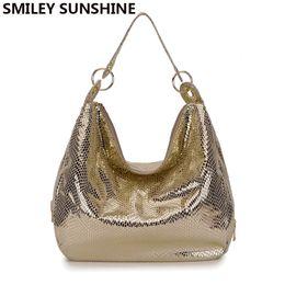 Wholesale Large Metallic Gold Handbag - SMILEY SUNSHINE luxury big women shoulder bags 2017 snakes retro vintage handbags ladies hand bag large female tote leather bags