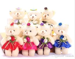 candy toy doll Coupons - Candy 10 Colors Bow Bear Plush Toys Satin Cartoon bouquet Flower plush bear doll wedding children Stuffed Animal Toy