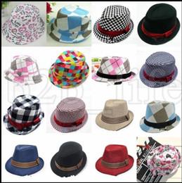 Wholesale fedora hat baby - Baby Girl Boy Toddler Cap Fedora Hat Jazz Kids Photography Cotton Trilby Top Flat Top Fedora Cap Sun Hat Jazz cap KKA5442