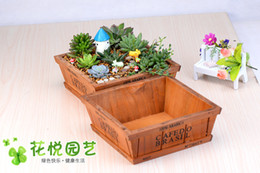 Wholesale Planter Box Gardens - Wholesale Fairy Garden Wood Planters For Succulents Planter Micro Landscape Vintage Wooden Succulent Bonsai Pot Succulent Box