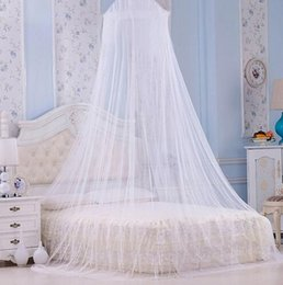 Wholesale White Bedding Queen - white Mosquito Net vaulted Double Bed hung dome Mosquito Repellent Tent Round Lace Bed Canopy Hung Dome Mosquito Net EEA297