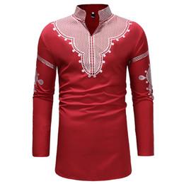 camicie mens del collare del basamento Sconti Camicia da uomo rosso africano Dashiki Longline Uomo 2018 Brand New Stand collare Camicia a maniche lunghe da uomo Mens Hip Hop Streetwear Camicie Uomo