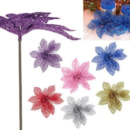 Wholesale Glitter Christmas Decorations - 7 Colors 15CM Hollow Glitter Christmas Poinsettia Artificial Plant Silk Flowers Party Supplies Centerpieces Wedding Decorations Home Decor