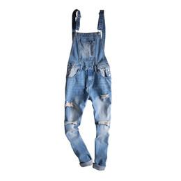 9a513412ae MORUANCLE Hombres de la moda Ripped Denim babero overoles angustiados Jeans  Monos para hombre Destruyó los pantalones de la liga lavado azul