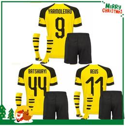 18 19 Dortmund kids kit boy child REUS home away Jerseys 2018 2019  AUBAMEYANG jersey MKHITARYAN HUMMELS M.GOTZE PULISIC sport shirt 7e33e8c0b