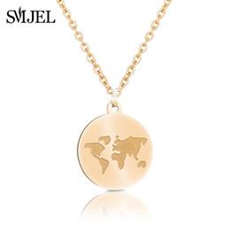 cc73f348c315 SMJEL Vintage Coin Collares pendientes Para Las Mujeres Mapa de Moda Collar  Mundial Gargantilla de Oro de Color Plata Joyería Declaración de Regalo 2018