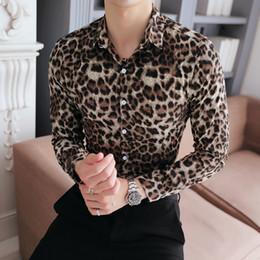 Homens de alta Qualidade Camisa Nova Marca Slim Fit Casual Estampa de  Leopardo Camisas Sociais Vestido de Manga Longa Plus Size Night Club Prom  Tuxedo ... 6862e0ca0d94d