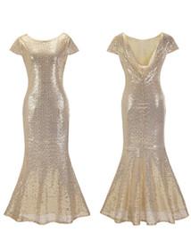 Slive Glitz lentejuelas sirena vestidos de baile una línea vestido de manga corta Sexy Backless piso longitud Ladies formal vestidos de noche Bridemaid vestido desde fabricantes