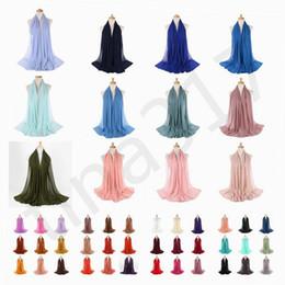 2019 bufanda de perlas musulmanes Monocromo Nation Pearl Chiffon Bubble Towel Scarf Venta caliente de alta calidad Muslim Woman Scarf Shawl T7C069 bufanda de perlas musulmanes baratos