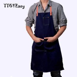 Wholesale Chef Waist Aprons - 2017 Hot Sale Apron Denim Detachable Cowboy Antifouling Uniform Unisex Aprons For Woman Men Kitchen Chef Cooking Pinafore Wq003