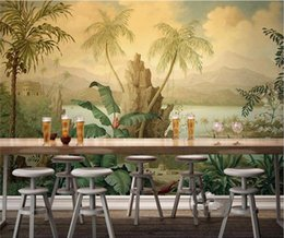 Wholesale Kids Rain Cover - Southeast Asian tropical rain forest individual bedroom background wall paper American living room entrance large fresco green wall covering