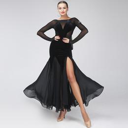 2019 tango kleider schwarz sexy Gesellschaftskleid Frauen Tanzkleid Wettbewerb roter Flamenco-Kleider foxtrot Tango Kostüm Rumba rabatt tango kleider