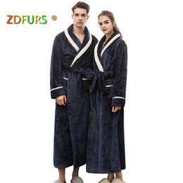 2019 robes de bain blanches ZDFURS * nouvelles femmes hiver chaud longue robe de bain rayures blanches col amoureux Kimono peignoir hommes robe de mariée robes de mariée de mariage robes de bain blanches pas cher