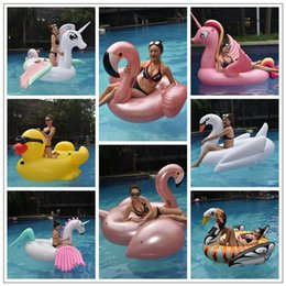 Wholesale floating tubes - 17 Styles Giant Inflatable Unicron Floats Tubes Pool Swimming Toy Ride-On Pool Unicron Floating Bed Swim Ring for Water Sports CCA9349 10pcs