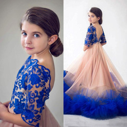 Wholesale Jewel Designer Wedding Dresses - Princess Royal Blue Flower Girls Dresses For Weddings Designer Backless Lace Appliqued Ruffles Kids Formal Wear Little Baby Communion Dress