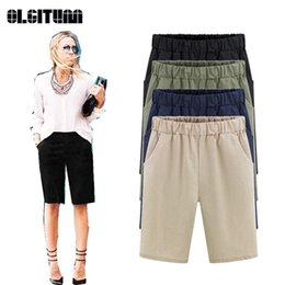 Wholesale thin waist women - Summer Female Pants Plus Size M-6XL Harem Pants Women's Knee Length Trousers Casual Thin Loose Elastic Waist PT097