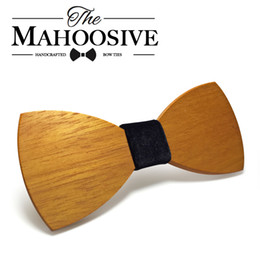 Wholesale Wholesale Tie Sets - Mahoosive Brand Handmade Wood Bow Ties Bowtie Wedding Butterfly Gravata Ties For Men Geometric Wooden Bow Tie